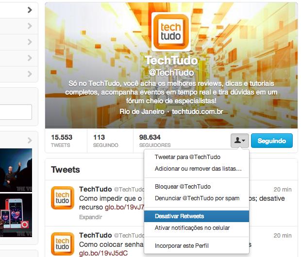 Desativando retweets direto do perfil (Foto: Reprodução/Helito Bijora)