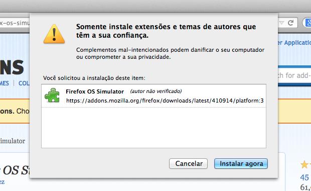 Instando emulador do Firefox OS (Foto: Reprodução/Helito Bijora)