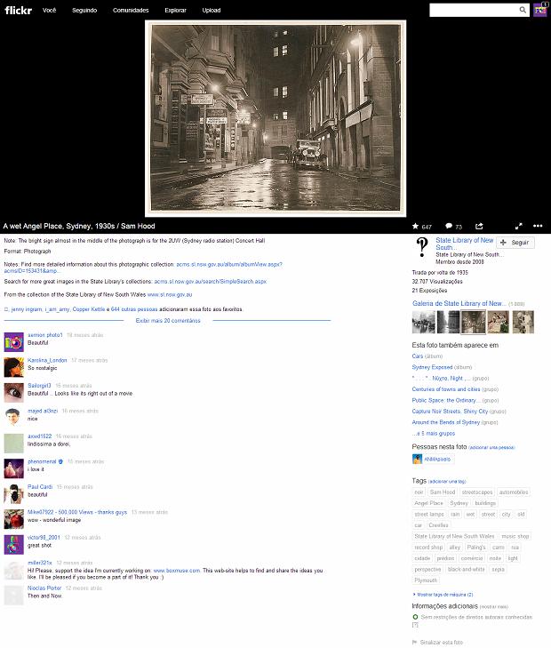 Este é o layout atual do Flickr na exibição de fotos (Foto: Reprodução/Aline Jesus)