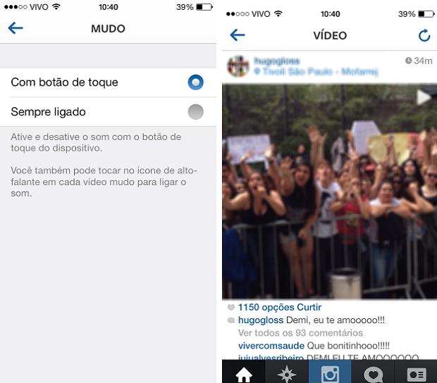 Reprodução de vídeo no Instagram com o botão de toque (Foto: Reprodução/Aine Jesus)