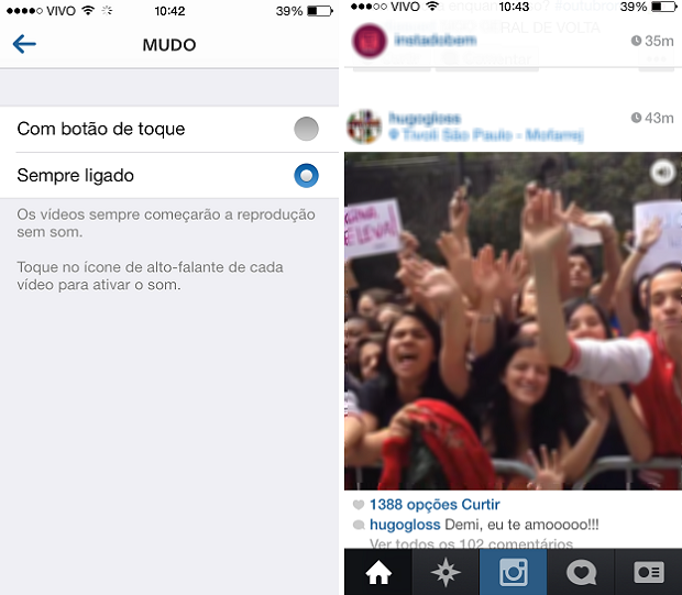 Reprodução de vídeo no Instagram com opção de ligar o alto-falante (Foto: Reprodução/Aine Jesus)