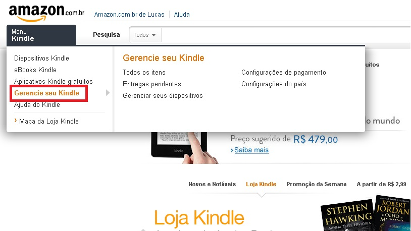 "Acesse ""Gerencie seu Kindle"" no menu lateral"