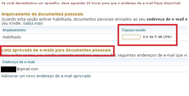 Você tem até 5 Gb de espaço para seus arquivos. Logo abaixo, os e-mails autorizados. (Foto: Reprodução/Lucas da Silva)