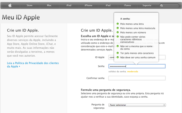 Fornecendo dados pessoais para criação de uma Apple ID (Foto: Reprodução/Marvin Costa)