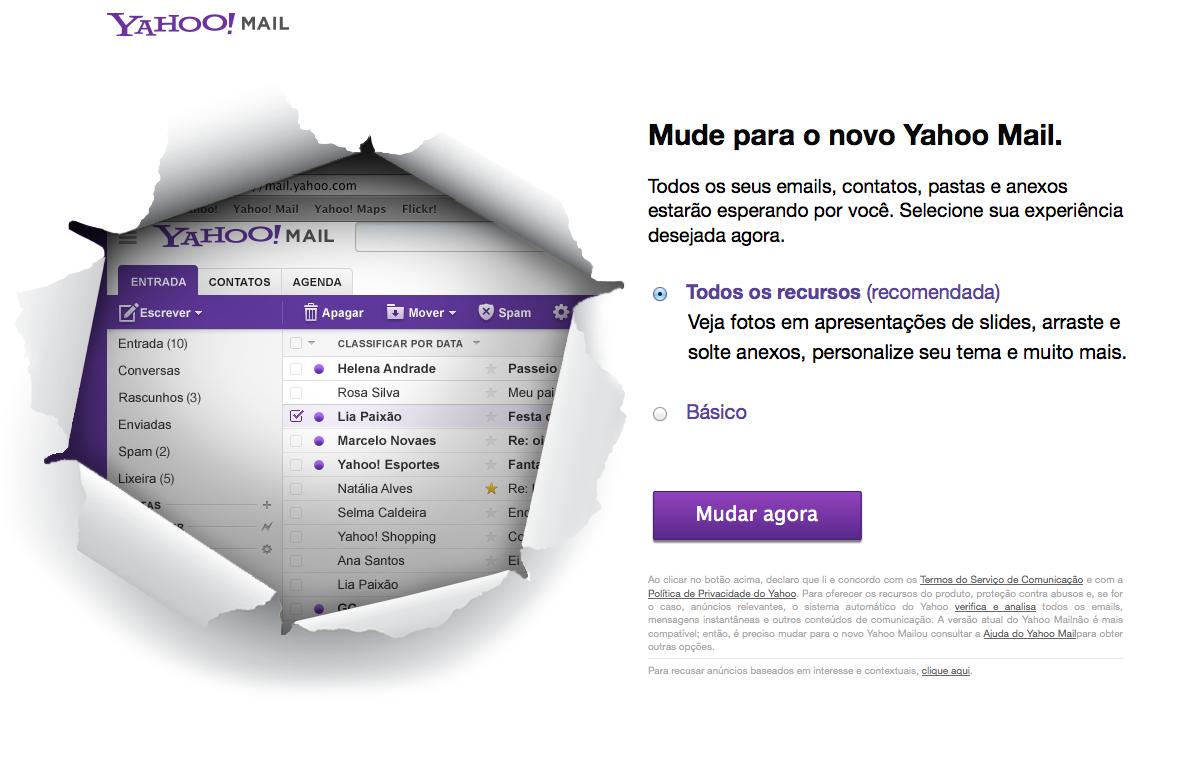 Yahoo! Mail está de cara nova, parecido com Gmail, do Google (Foto: Reprodução/Yahoo)