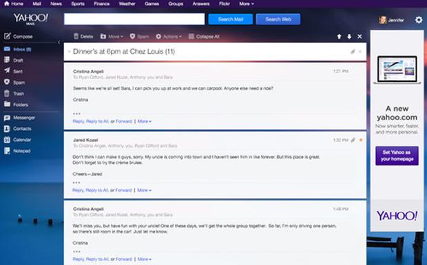 Novo design do e-mail do Yahoo não agradou usuários (foto: Reprodução/Yahoo)