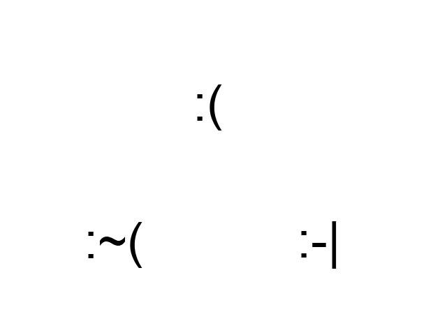 Dois pontos combinados com barra ou parêntese indicam estados de tristeza ou confusão (Foto: Karla Soares)