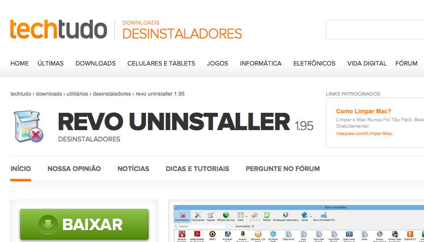Revo Uninstaller, no TechTudo Downloads (Foto: Reprodução/TechTudo)