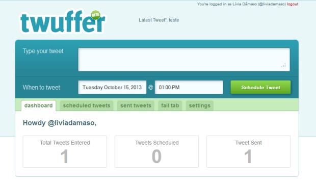 No Twuffer, o usuário programa tuítes futuros (Foto: Reprodução/Lívia Dâmaso)