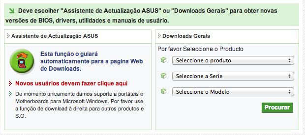 Página de downloads da Asus (Foto: Reprodução/Helito Bijora)
