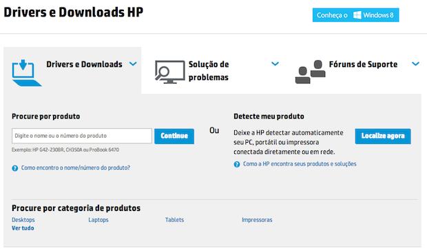 Página de downloads da HP (Foto: Reprodução/Helito Bijora)