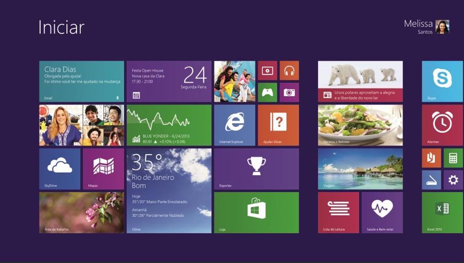 Novo Windows 8.1; tela ganha ícones com tamanhos diferenciados e botão Iniciar (Foto: Divulgação/Microsoft)