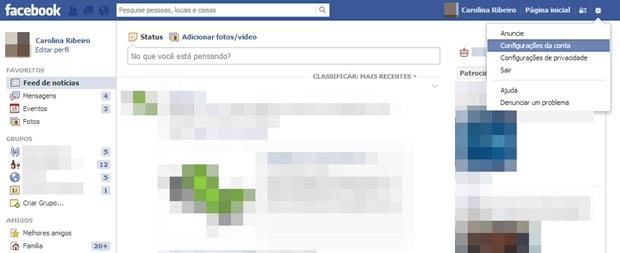 Acessando as configurações da conta no Facebook (Foto: Reprodução/Carolina Ribeiro)