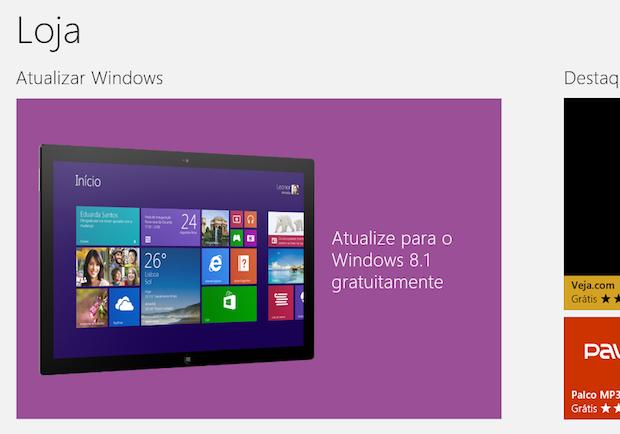Windows 8.1 é destaque na Loja (Foto: Reprodução/Helito Bijora)