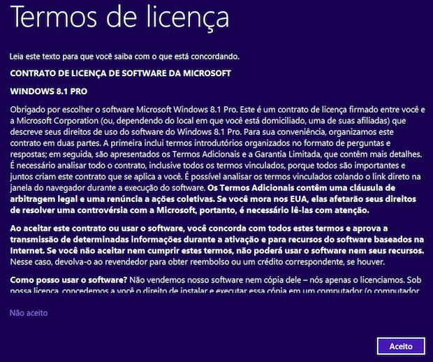 Contrato do Windows 8.1 (Foto: Reprodução/Helito Bijora)