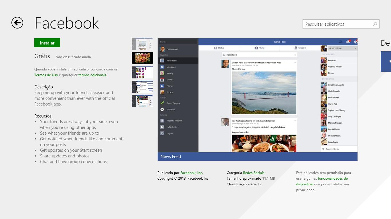 Facebook para Windows 8.1 já está disponível para download. (Foto: Reprodução)