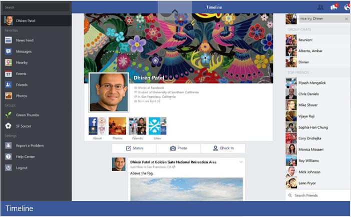Interface do Facebook para Windows 8.1.  (Foto: Reprodução)