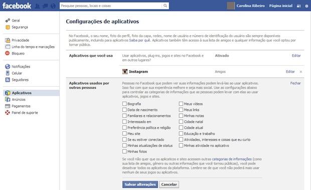 Impedindo que aplicativos dos seus amigos acessem seus dados no Facebook (Foto: Reprodução/Carolina Ribeiro)
