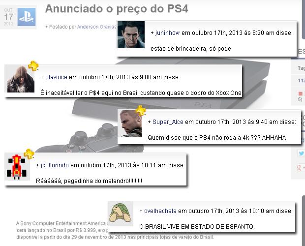 Reações de usuários no PlayStation Blog brasileiro (Foto: Reprodução)