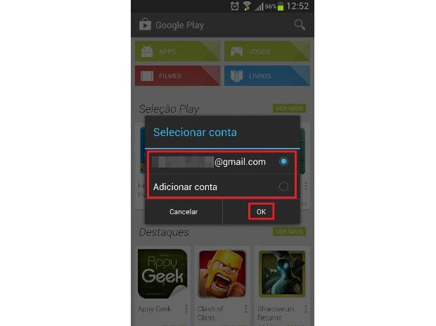 Adicionando uma conta no Google Play (Foto: Reprodução/Lívia Dâmaso)