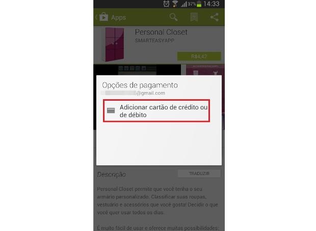 Adicionando um cartão de crédito ou débito no Google Play (Foto: Reprodução/Lívia Dâmaso)