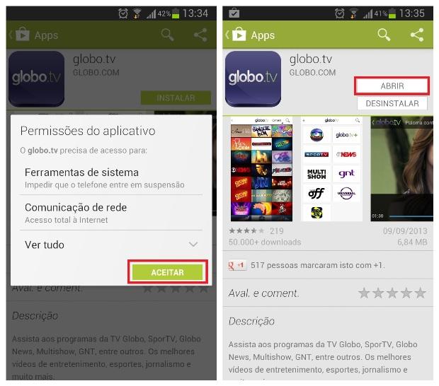 Instalando o aplicativo no smartphone (Foto: Reprodução/Lívia Dâmaso)