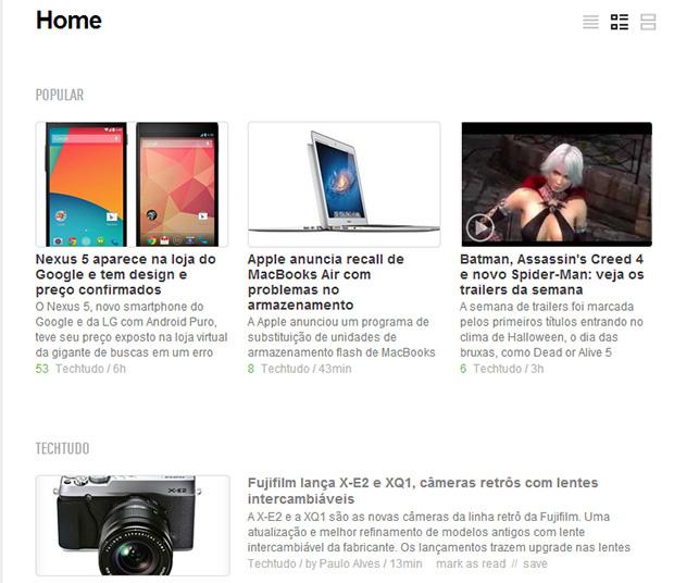 Agora os artigos mais lidos de cada feed ficam em destaque com a tag 'Popular' (Foto: Reprodução)