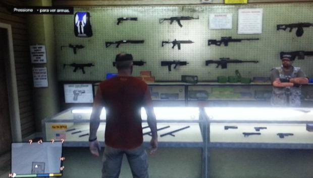 Loja de armas tem grande variedade (Foto: Reprodução/Thiago Barros)