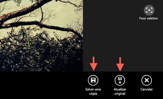 Finalizando a edição de uma foto no aplicativo Fotos do Windows 8.1 (Foto: Reprodução/Marvin Costa)