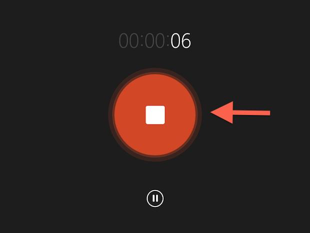 """Finalizando uma gravação no aplicativo """"Gravador de áudio"""" do Windows 8.1 (Foto: Reprodução/Marvin Costa)"""