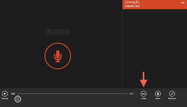 """Iniciando a edição do áudio gravado com o aplicativo """"Gravador de som"""" do Windows 8.1 (Foto: Reprodução/Marvin Costa)"""