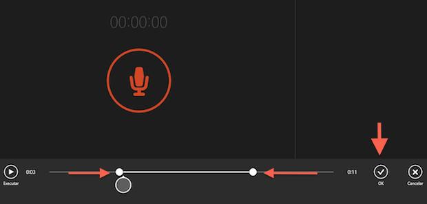 """Cortando partes do áudio gravado com o aplicativo """"Gravador de som"""" do Windows 8.1 (Foto: Reprodução/Marvin Costa)"""