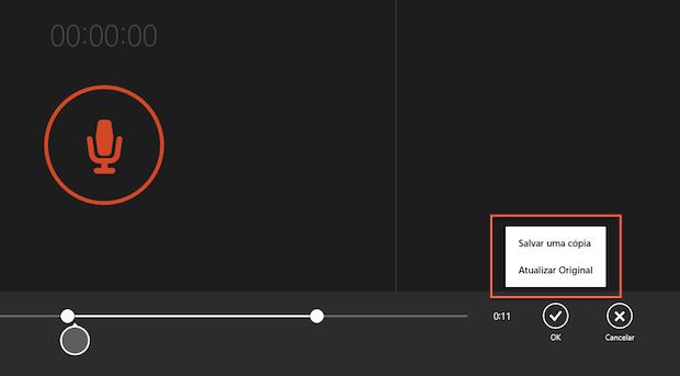 """Salvando o áudio editado com o aplicativo """"Gravador de som"""" do Windows 8.1 (Foto: Reprodução/Marvin Costa)"""