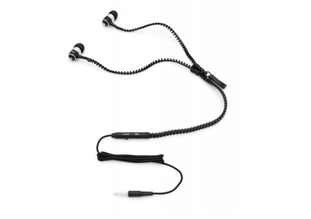 Fone de ouvido em forma de zíper tem fio ajustável, que se adapta ao gosto do usuário (Foto: Reprodução/Imaginarium)