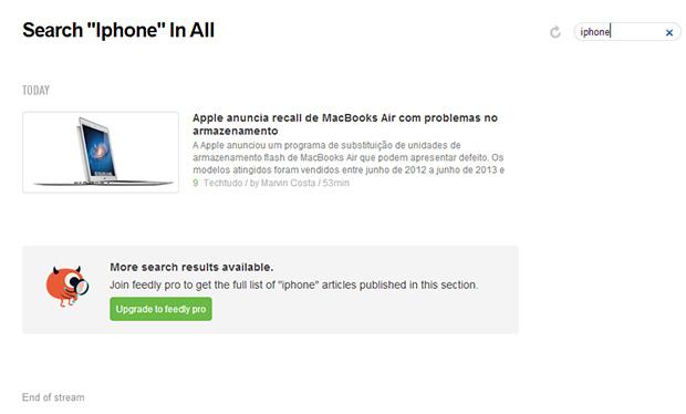 No campo superior direito é possível buscar por artigos dentro de um feed (Foto: Reprodução)