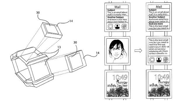 Patente registrada pela Nokia mostra relógio inteligente com múltiplas telas (Foto: Reprodução/Ubergizmo)