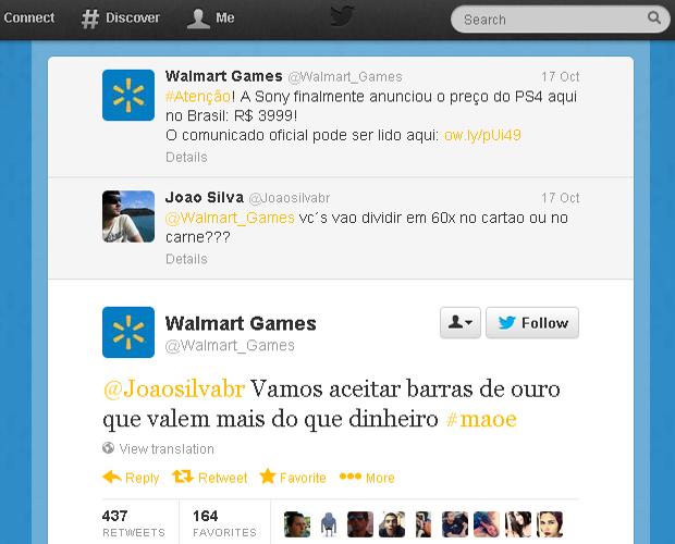 Walmart encarna Sílvio Santos no Twitter para vender o PlayStation 4 (Foto: Reprodução)