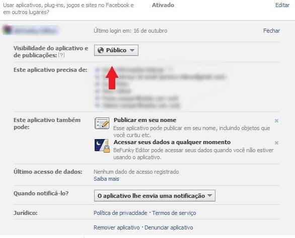 Remova a visibilidade pública de seus aplicativos no Facebook  (Foto: Reprodução)