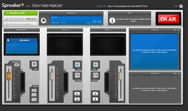 Spreaker, plataforma simples para criar sua webradio (Foto: Reprodução)
