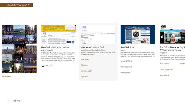 Resultados de busca são exibidos com previews (foto: Reprodução/Microsoft)