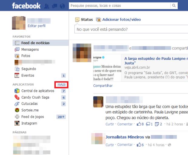 Atalho para os aplicativos do Facebook (Foto: Reprodução/Lívia Dâmaso)