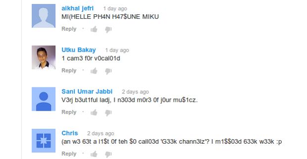 """Comentários escritos em linguajar """"1337"""". (Foto: Reprodução)"""
