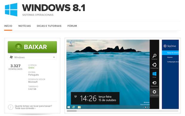 Download do Windows 8.1 (Foto: Reprodução/Helito Bijora)