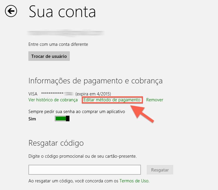 Editando método de pagamento da Windows Store (Foto: Reprodução/Marvin Costa)