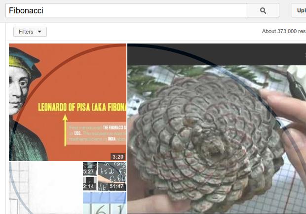 Sequência de Fibonacci é ensinada em resultado de pesquisa no Youtube. (Foto: Reprodução)