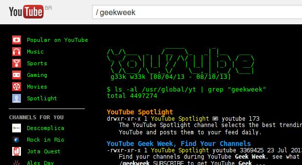 Visual de uma tela de comandos como easter egg no YouTube. (Foto: Reprodução)