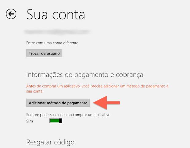 Acessando as opções de método de pagamento da Windows Store (Foto: Reprodução/Marvin Costa)