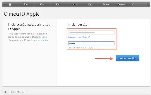 Iniciando a edição de dados de uma Apple ID pela Web (Foto: Reprodução/Apple)