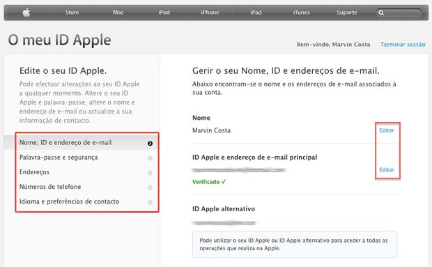 Editando os dados de uma Apple ID pela web (Foto: Reprodução/Apple)