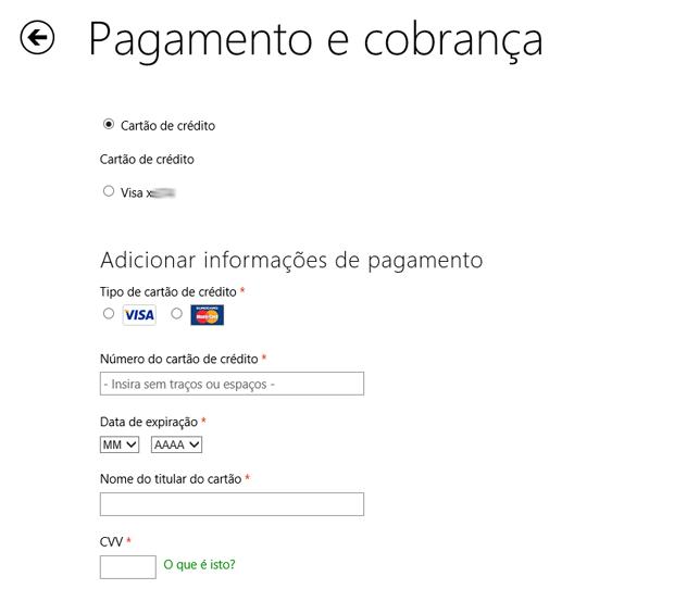 Fornecendo os novos dados de cartão de crédito na Windows Store (Foto: Reprodução/Marvin Costa)